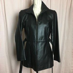 Worthington Black Genuine Leather Zip Up Jacket
